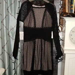 NWT Free People Nude Illusion Black Lace Dress